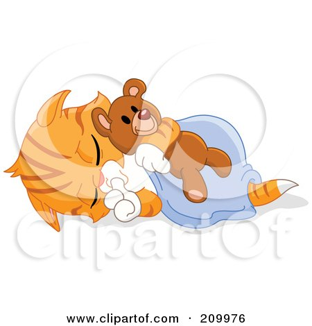 Royalty-Free (RF) Clipart Illustration of a Cute Orange Kitten Sucking His Thumb And Sleeping With A Teddy Bear by yayayoyo