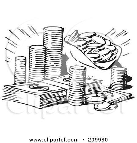 Royalty-Free (RF) Clipart Illustration of a Retro Black And White Stash Of Coins And Cash by BestVector