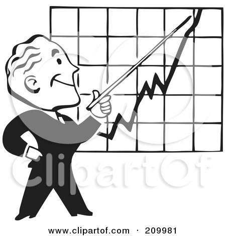 Royalty-Free (RF) Clipart Illustration of a Retro Black And White Businessman Discussing A Chart by BestVector