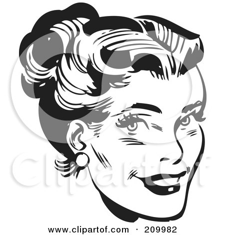 Royalty-Free (RF) Clipart Illustration of a Retro Black And White Woman's Face With Her Hair Up by BestVector