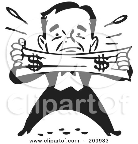 Royalty-Free (RF) Clipart Illustration of a Retro Black And White Man Trying To Stretch A Dollar by BestVector