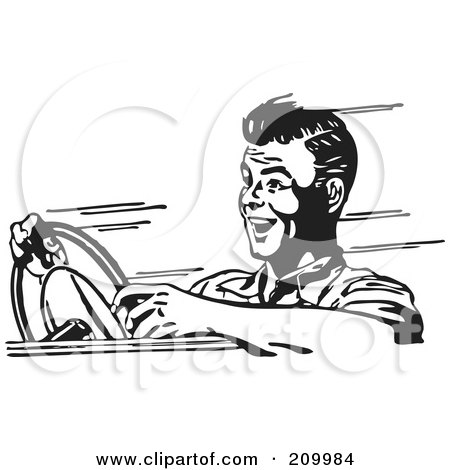 Royalty-Free (RF) Clipart Illustration of a Retro Black And White Man Speeding In A Car by BestVector