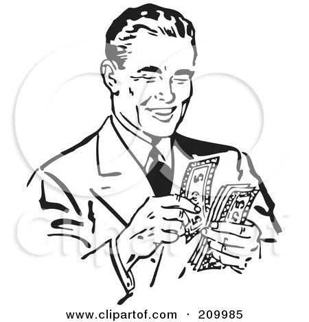 Royalty-Free (RF) Clipart Illustration of a Retro Black And White Businessman Counting His Cash by BestVector