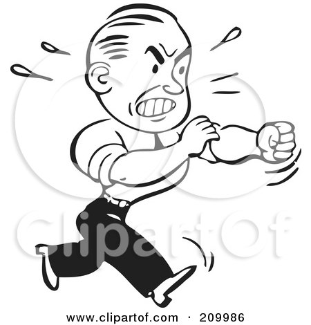 Royalty-Free (RF) Clipart Illustration of a Retro Black And White Businessman Rolling Up His Sleeves To Fight by BestVector