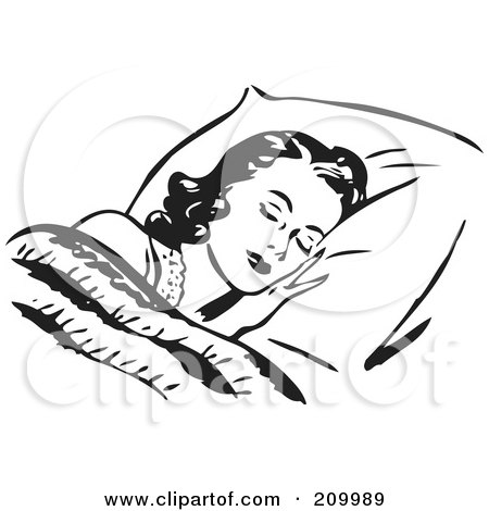 Royalty-Free (RF) Clipart Illustration of a Retro Black And White Woman Sleeping Against A Fluffy Pillow by BestVector