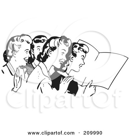 Royalty-Free (RF) Clipart Illustration of a Retro Black And White Women Reading A Blank Paper by BestVector