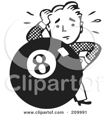 Royalty-Free (RF) Clipart Illustration of a Retro Black And White Man Behind An Eight Ball by BestVector