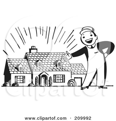 Royalty-Free (RF) Clipart Illustration of a Retro Black And White Man Presenting A New Home by BestVector