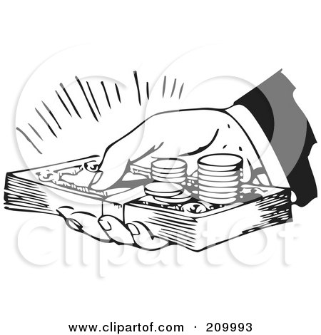Royalty-Free (RF) Clipart Illustration of a Retro Black And White Hand Holding Cash And Coins by BestVector