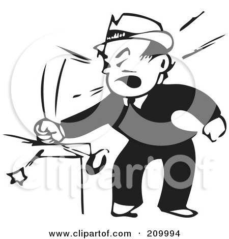 Royalty-Free (RF) Clipart Illustration of a Retro Black And White Businessman Banging His Fist by BestVector