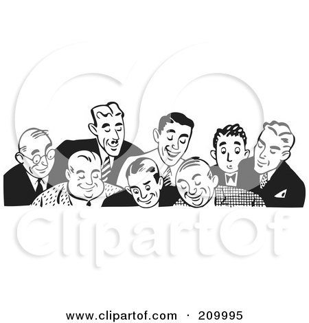 Royalty-Free (RF) Clipart Illustration of a Retro Black And White Border Of Businessmen Looking Down by BestVector