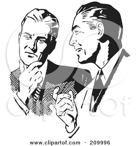 Royalty-Free (RF) Clipart Illustration of a Retro Black And White Businessmen Talking About An Idea by BestVector