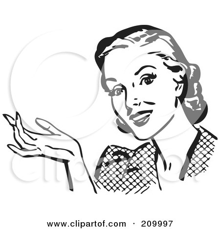 Royalty-Free (RF) Clipart Illustration of a Retro Black And White Woman Gesturing And Smiling by BestVector