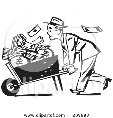 Royalty-Free (RF) Clipart Illustration of a Retro Black And White Businessman Pushing A Wheel Barrow Of Cash To The Left by BestVector