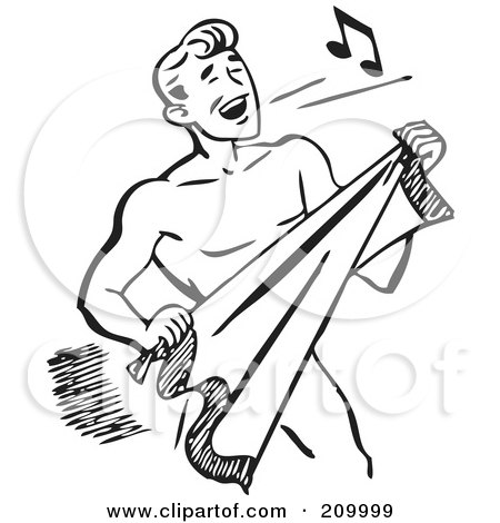Royalty-Free (RF) Clipart Illustration of a Retro Black And White Man Singing And Drying Off With A Towel by BestVector
