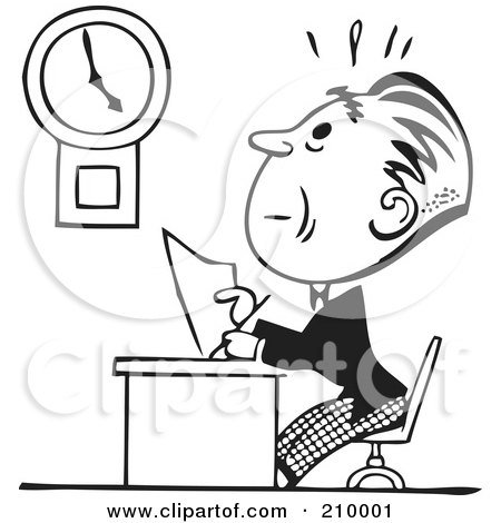 Royalty-Free (RF) Clipart Illustration of a Retro Black And White Businessman Trying To Finish His Work In Time by BestVector