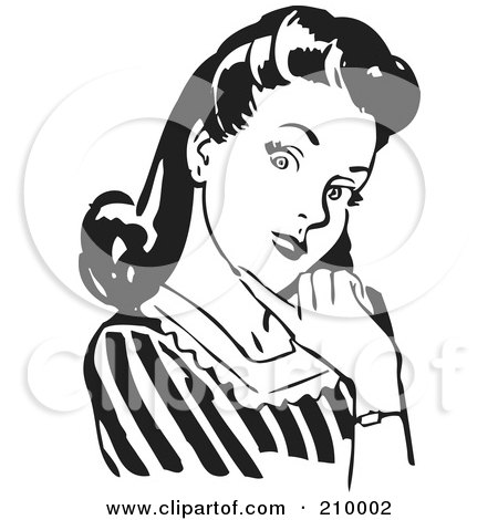 Royalty-Free (RF) Clipart Illustration of a Retro Black And White Woman Flirting And Touching Her Chin by BestVector
