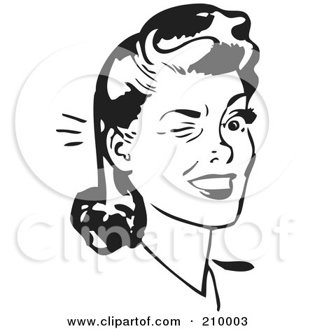 Royalty-Free (RF) Clipart Illustration of a Retro Black And White Woman Winking by BestVector