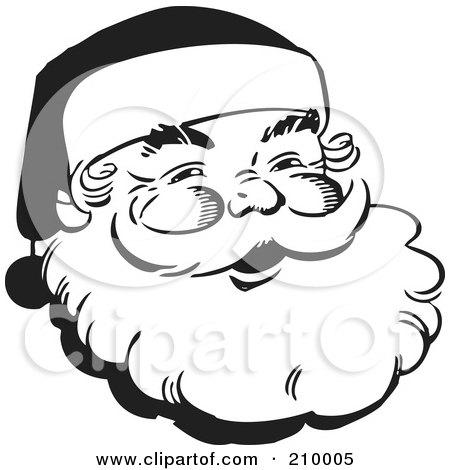 Retro Black And White Santa Face Posters, Art Prints