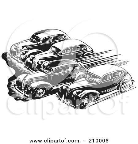 Royalty-Free (RF) Clipart Illustration of Retro Black And White Cars Taking Off In A Race by BestVector