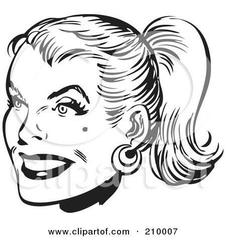 Royalty-Free (RF) Clipart Illustration of a Retro Black And White Woman's Face With Her Hair In A Pony Tail by BestVector