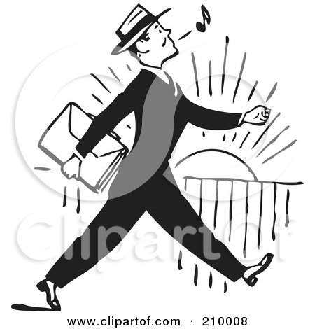 Royalty-Free (RF) Clipart Illustration of a Retro Black And White Businessman Whistling And Walking by BestVector