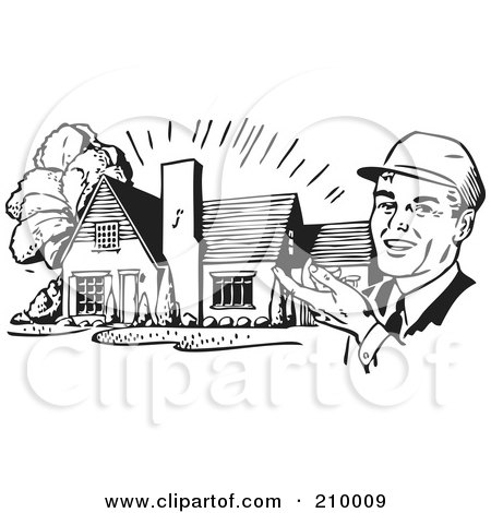 Royalty-Free (RF) Clipart Illustration of a Retro Black And White Architect Presenting A House by BestVector