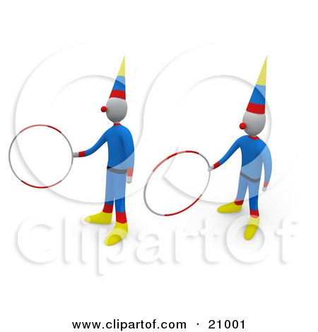 Two Circus Clowns Entertaining The Crowd With Hoop Tricks Posters, Art Prints
