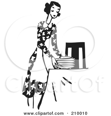 Royalty-Free (RF) Clipart Illustration of a Retro Black And White Woman In An Apron, Setting A Table by BestVector