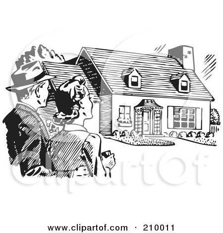 Royalty-Free (RF) Clipart Illustration of a Retro Black And White Couple Gazing At A House by BestVector