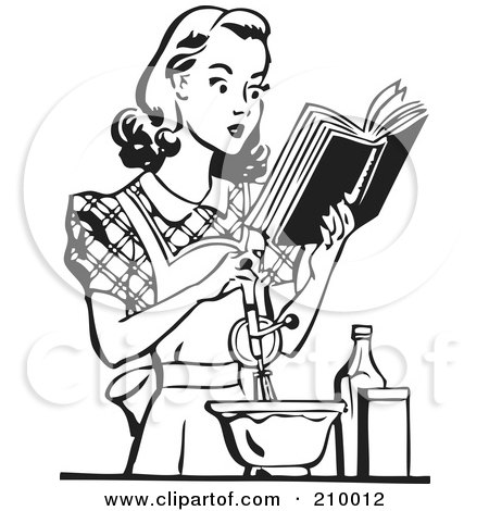 Royalty-Free (RF) Clipart Illustration of a Retro Black And White Woman Baking And Reading A Cook Book by BestVector