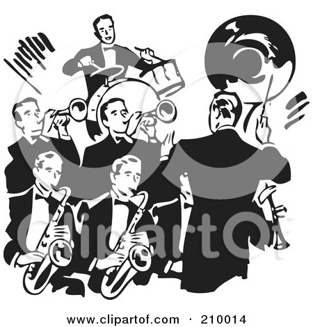Royalty-Free (RF) Clipart Illustration of a Retro Black And White Conductor Leading A Band Of Men by BestVector