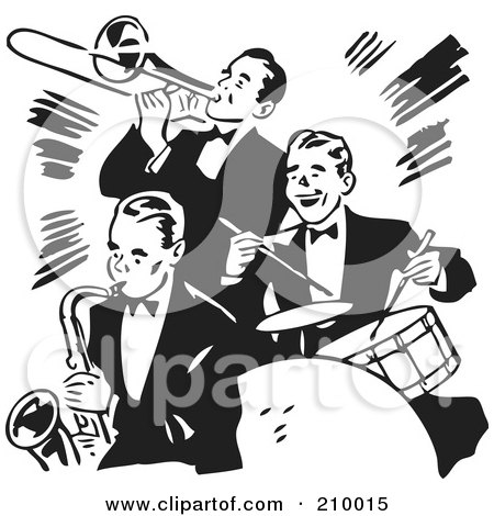 Royalty-Free (RF) Clipart Illustration of a Retro Black And White Band Of Three Gentlemen Playing A Trumpet, Saxophone And Drums by BestVector