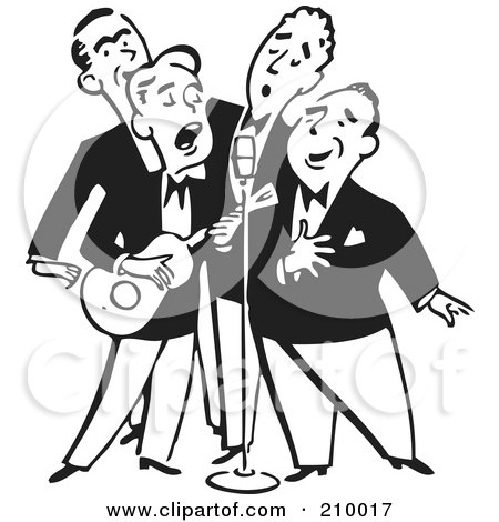 Royalty-Free (RF) Clipart Illustration of a Retro Black And White Quartet Of Singing Men With A Banjo by BestVector