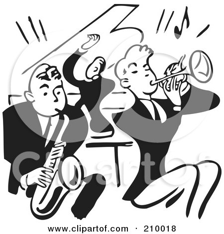 Royalty-Free (RF) Clipart Illustration of a Retro Black And White Band Of Men Playing A Sax, Piano And Trumpet by BestVector