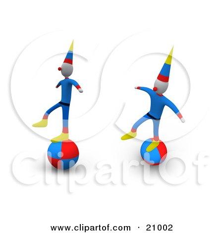 Two Performing Circus Clowns Balancing On Balls Posters, Art Prints