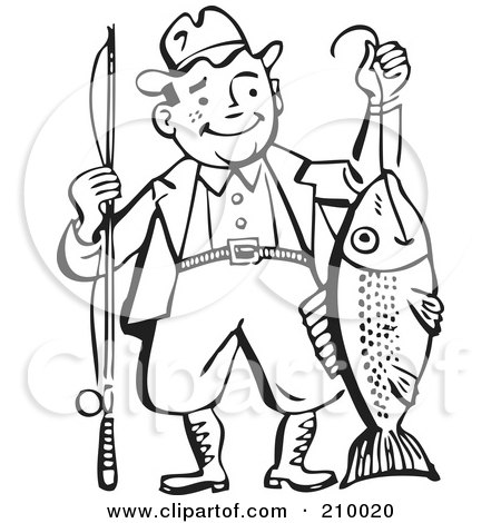 Royalty-Free (RF) Clipart Illustration of a Retro Black And White Man Proudly Holding His Catch by BestVector