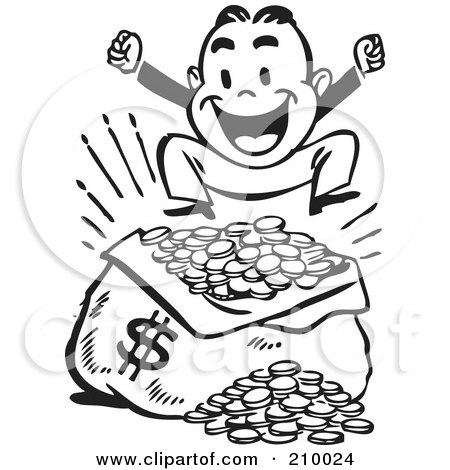Royalty-Free (RF) Clipart Illustration of a Retro Black And White Man Jumping Over A Sack Of Money by BestVector