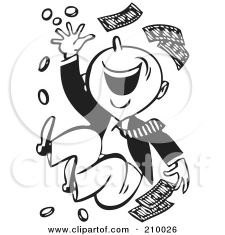 Royalty-Free (RF) Clipart Illustration of a Retro Black And White Happy Man Throwing Money by BestVector