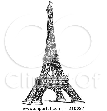 Royalty-Free (RF) Clipart Illustration of a Retro Black And White Styled Eiffel Tower by BestVector