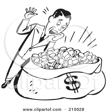 Royalty-Free (RF) Clipart Illustration of a Retro Black And White Man Standing Over A Sack Of Money by BestVector