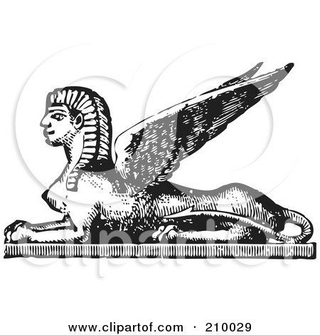 Royalty-Free (RF) Clipart Illustration of a Retro Black And White Styled Egyptian Sphinx by BestVector