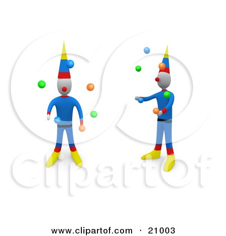 Two Entertaining Circus Clowns Juggling Balls Posters, Art Prints