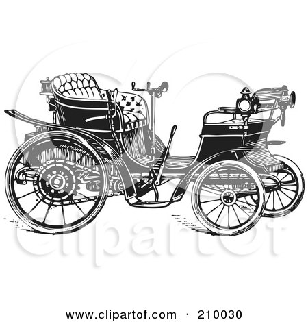 Royalty-Free (RF) Clipart Illustration of a Retro Black And White Styled Car by BestVector