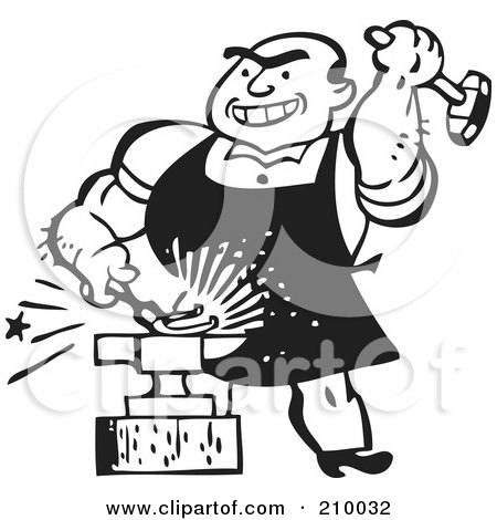 Royalty-Free (RF) Clipart Illustration of a Retro Black And White Blacksmith Hammering Iron Against An Anvil by BestVector