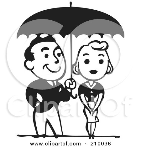 Royalty-Free (RF) Clipart Illustration of a Retro Black And White Couple Under An Umbrella by BestVector