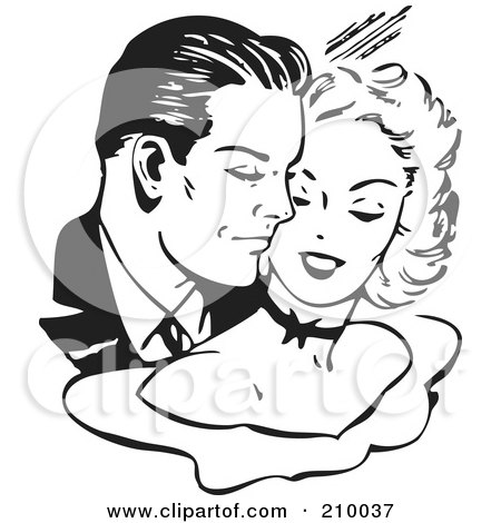 Royalty-Free (RF) Clipart Illustration of a Retro Black And White Couple Cuddling by BestVector