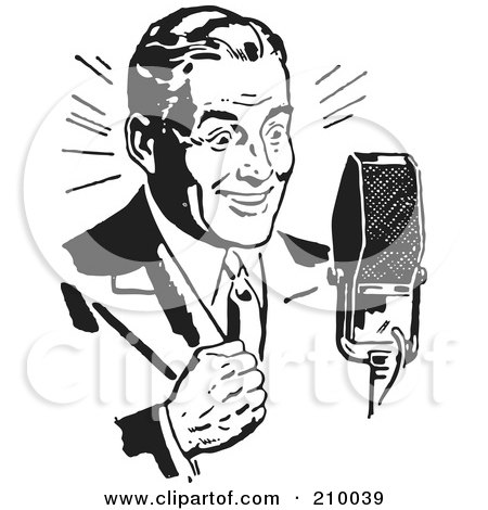 Royalty-Free (RF) Clipart Illustration of a Retro Black And White Man Speaking Into A Microphone by BestVector