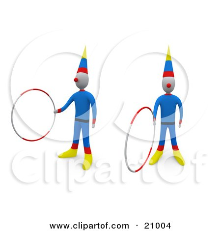 Two Entertaining Circus Clowns Doing Tricks With Hoops Posters, Art Prints