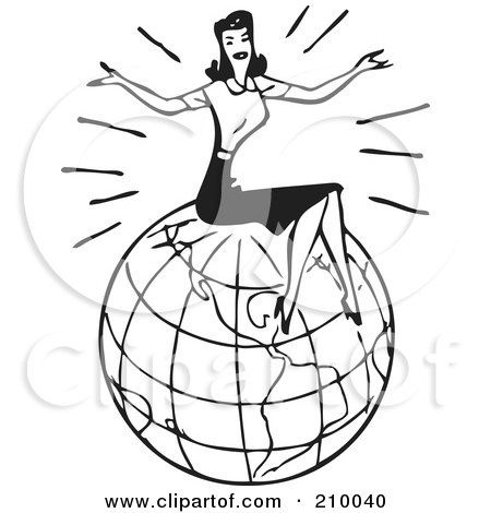 Royalty-Free (RF) Clipart Illustration of a Retro Black And White Woman Sitting On Top Of A Globe by BestVector
